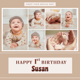 Online Editable Susan Happy Birthday Wishes 6 Grid Photo Collage
