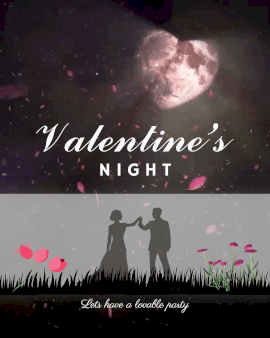Online Editable Moon Heart Dust Particles Valentine's Night Animated Design