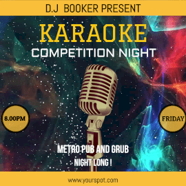 Online Editable Moving Particles Background Karaoke Competition Night Animated Design