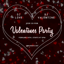 Online Editable Heart Pattern Background DJ Party on Valentines Day Animated Design