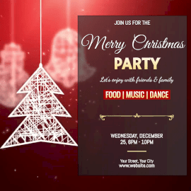 Online Editable Hanging Tree Merry Christmas Party Animated Design