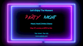 Online Editable Neon Light Music Part at Night Club Animated Design
