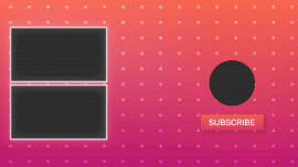 Online Editable Pink Dotted Background Playlist and Subscribe Button YouTube End Screen Outro