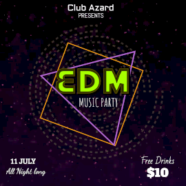 Online Editable Dust Particles Background EDM Music Party Animated Design