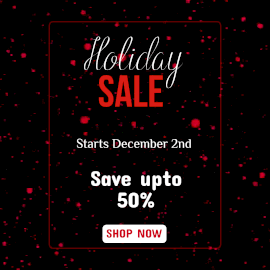 Online Editable Moving Red Particles Holiday Sale Offer Animated Design