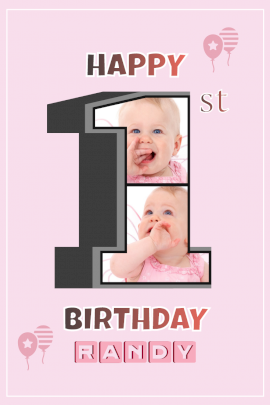 Online Editable Happy 1st Birthday Card Pinterest Graphic