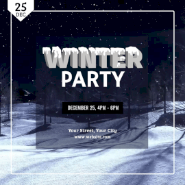 Online Editable 3D Text with Snow Winter Party Animated Design