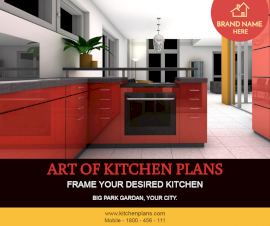 Online Editable Kitchen Cabinet Design Facebook Post
