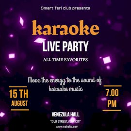 Online Editable Purple Glittering Particles Karaoke Live Party Animated Design