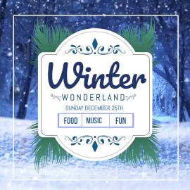 Online Editable Snow Falling Background Winter Wonderland Animated Design