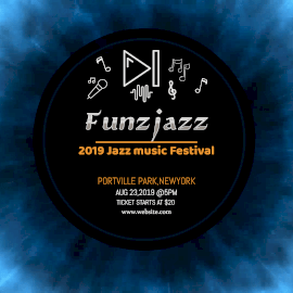 Online Editable Blue Funjazz Music Festival Animated Design
