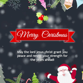 Online Editable Bokeh Light and Santa Merry Christmas Wishes Animated Design