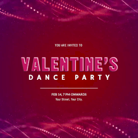 Online Editable Glitter Particles Background Valentine's Dance Party Animated Design