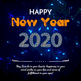 Online Editable Vibrant Blue New Year Wish in Festive Text Animated Design