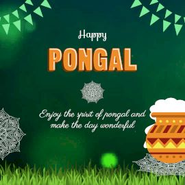 Online Editable Green Happy Pongal Wishes Animated Design