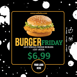 Online Editable Bubble Background Cheesy Burger Animated Design