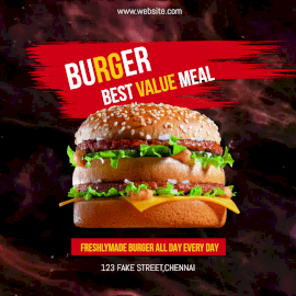 Online Editable Smoke Background Freshly Made Big Burger Animated Design