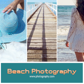 Online Editable Beach Photography 3 Grid Photo Collage