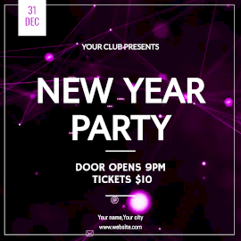 Online Editable Purple New Year Party Animated Design