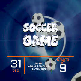 Online Editable Blue Soccer Game Animated Design