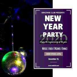 Online Editable Fun New Year Party Square Animated Design