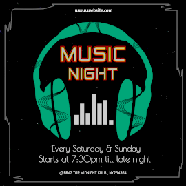 Online Editable Black Music Night Animated Design