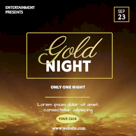 Online Editable Gold Night Animated Design