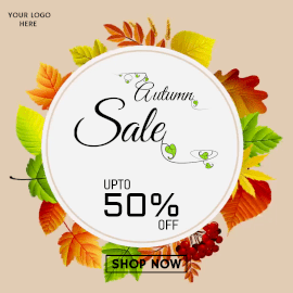 Online Editable Autumn Sale Offer Animated Design