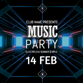 Online Editable Blue Music Party Animated Design