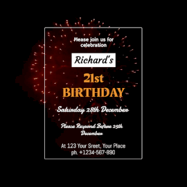Online Editable 21st Birthday Invitation Animated Design