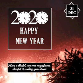 Online Editable Fireworks New Year 2020 Wishes Animated Design