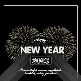 Online Editable Fireworks on New Year 2020 Wishes Animated Design