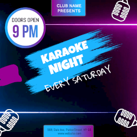Online Editable Karaoke Night Neon Light Animated Design