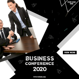 Online Editable Black Business Conference Animated Design