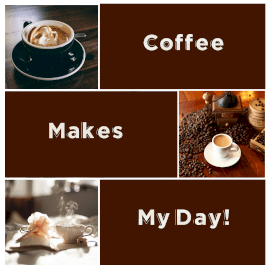 Online Editable Breakfast Blend Coffee Quotes 3 Grid Photo Collage