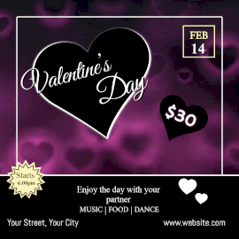 Online Editable Glowing Bokeh Heart Valentine's Day Party Animated Design