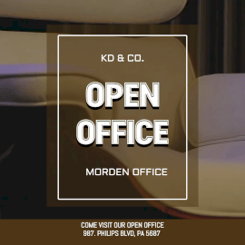 Online Editable White and Brown Open Office Animated Design