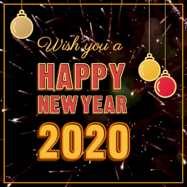 Online Editable Happy New Year With Fireworks Animated Design
