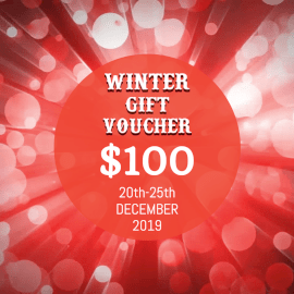 Online Editable Red Bokeh Falling Winter Gift Voucher Animated Design