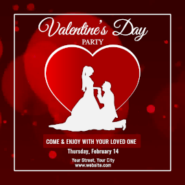 Online Editable Red Valentine's Day Party Animated Design