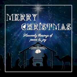 Online Editable Dark Blue Merry Christmas Wishes Animated Design