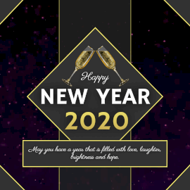 Online Editable Gold Champagne Glasses New Year Animated Design