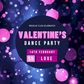 Online Editable Purple and Pink Valentine's Dance Party Animated Design