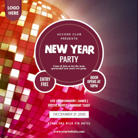 Online Editable Retro-like New Year Party Announcement Animated Design