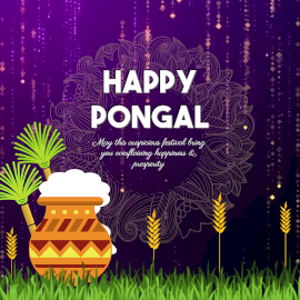 Online Editable Purple and Yellow Happy Pongal Animated Design