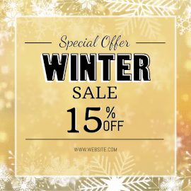 Online Editable Golden Snowflakes Pattern Background Winter Special Offer Sale Animated Design