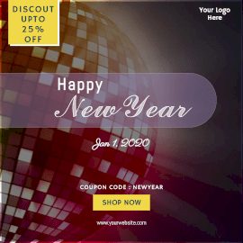 Online Editable Colorful Spinning Disco Ball New Year Discount Animated Design