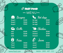 Online Editable Fast Food Menu Prices Facebook Post