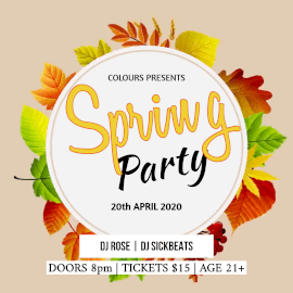 Online Editable Circle Leaves Frame DJ Music on Spring Party Animated Design