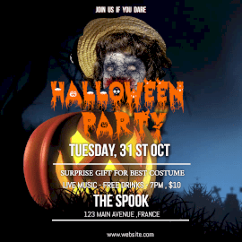 Online Editable Halloween Live Music Party Animated Design